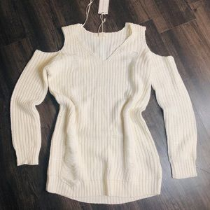 Sweaters - White cold shoulder distressed sweater